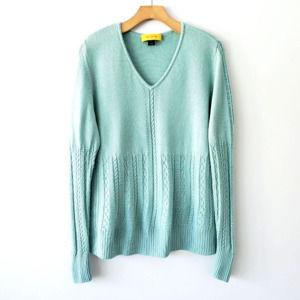 ST. JOHN Yellow Label Wool V Neck Sweater Textured